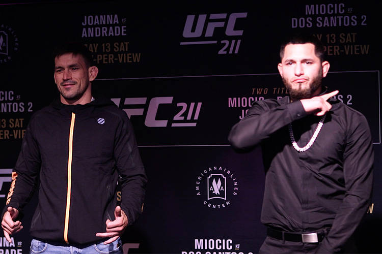 At the UFC 211 media day in Dallas, Texas, fighters from the card squared off. Jorge Masvidal (right) brought the intensity when he faced off with Demian Maia (left).