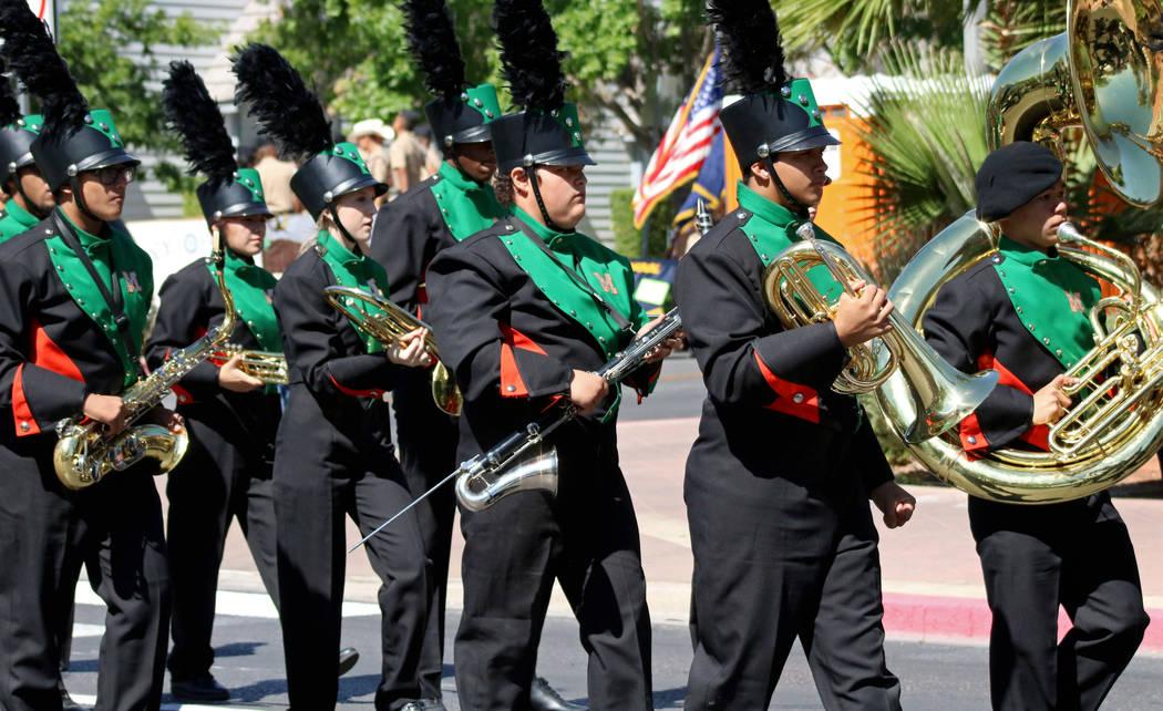 The Mojave High School marching band performs during the Helldorado Days Parade in downtown Las Vegas, Saturday, May 13, 2017. Gabriella Benavidez Las Vegas Review-Journal @latina_ish