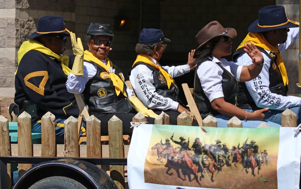 The Buffalo Soldiers wave to the crowd during the Helldorado Days Parade in downtown Las Vegas, Saturday, May 13, 2017. Gabriella Benavidez Las Vegas Review-Journal @latina_ish