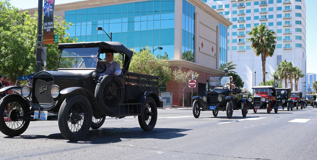 Members of the City of Las Vegas Historical Preservation Commission drive antique cars in downtown Las Vegas during the Helldorado Days Parade, Saturday, May 13, 2017. Gabriella Benavidez Las Vega ...