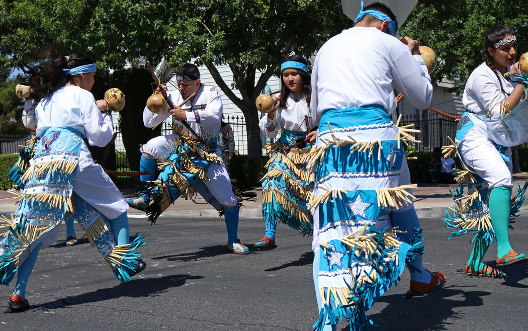 Members of Danza del Carrizo participate in the Helldorado Days Parade in downtown Las Vegas, Saturday, May 13, 2017. Gabriella Benavidez Las Vegas Review-Journal @latina_ish