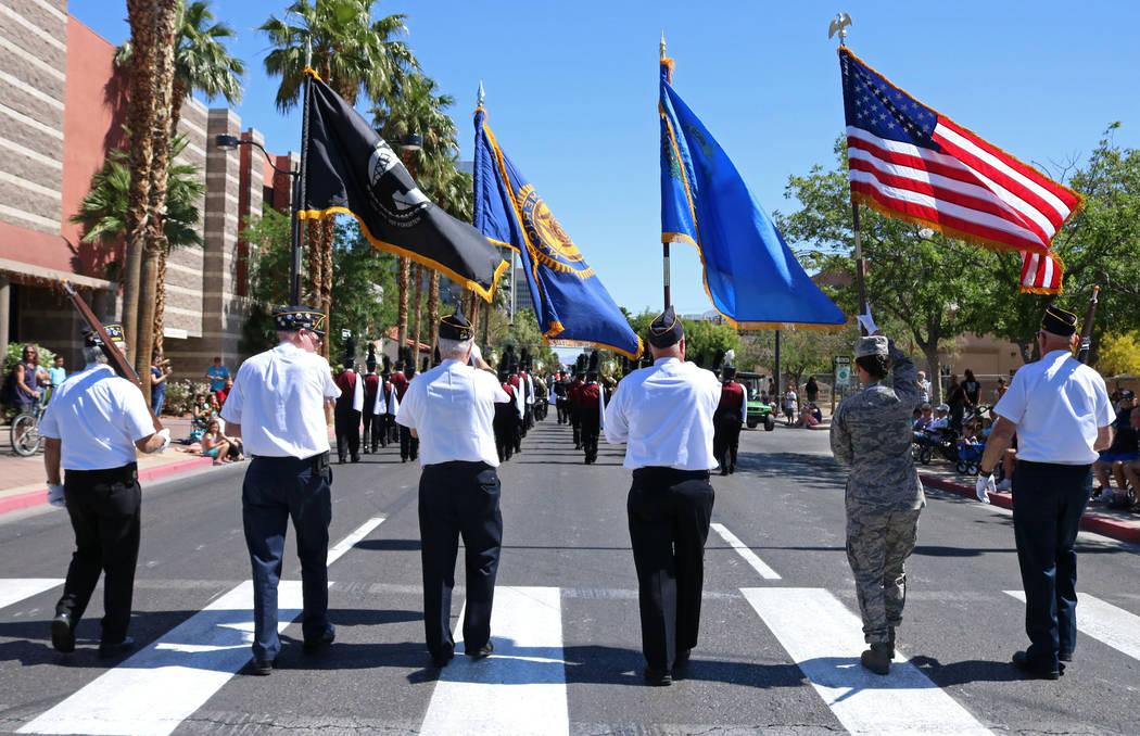 Members of the American Legion, Post 76 participate in the Helldorado Days Parade in downtown Las Vegas, Saturday, May 13, 2017. Gabriella Benavidez Las Vegas Review-Journal @latina_ish