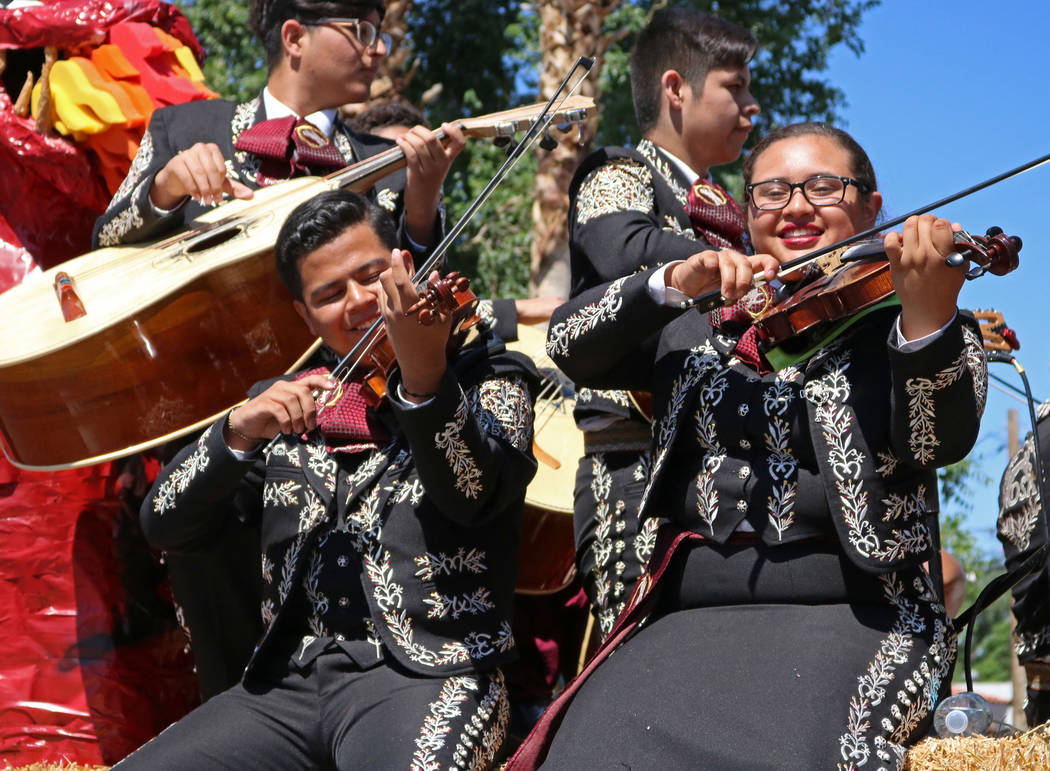 Mariachi Encendido, a band from Del Sol Academy of the Performing Arts, participate in the Helldorado Days Parade in downtown Las Vegas, Saturday, May 13, 2017. Gabriella Benavidez Las Vegas Revie ...