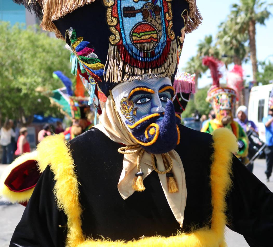 A member of Comparsa Fiesta Morelense participates in the Helldorado Days Parade in downtown Las Vegas, Saturday, May 13, 2017. Gabriella Benavidez Las Vegas Review-Journal @latina_ish