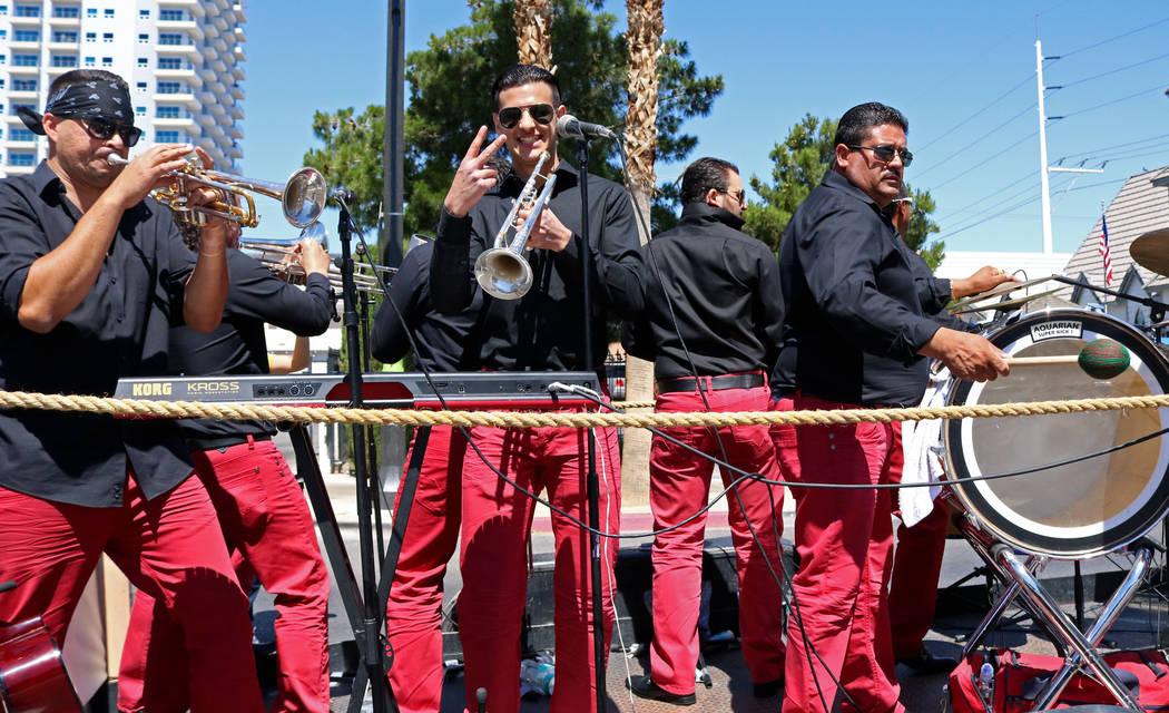 Band members from Los Etichones perform during the Helldorado Days Parade in downtown Las Vegas, Saturday, May 13, 2017. Gabriella Benavidez Las Vegas Review-Journal @latina_ish