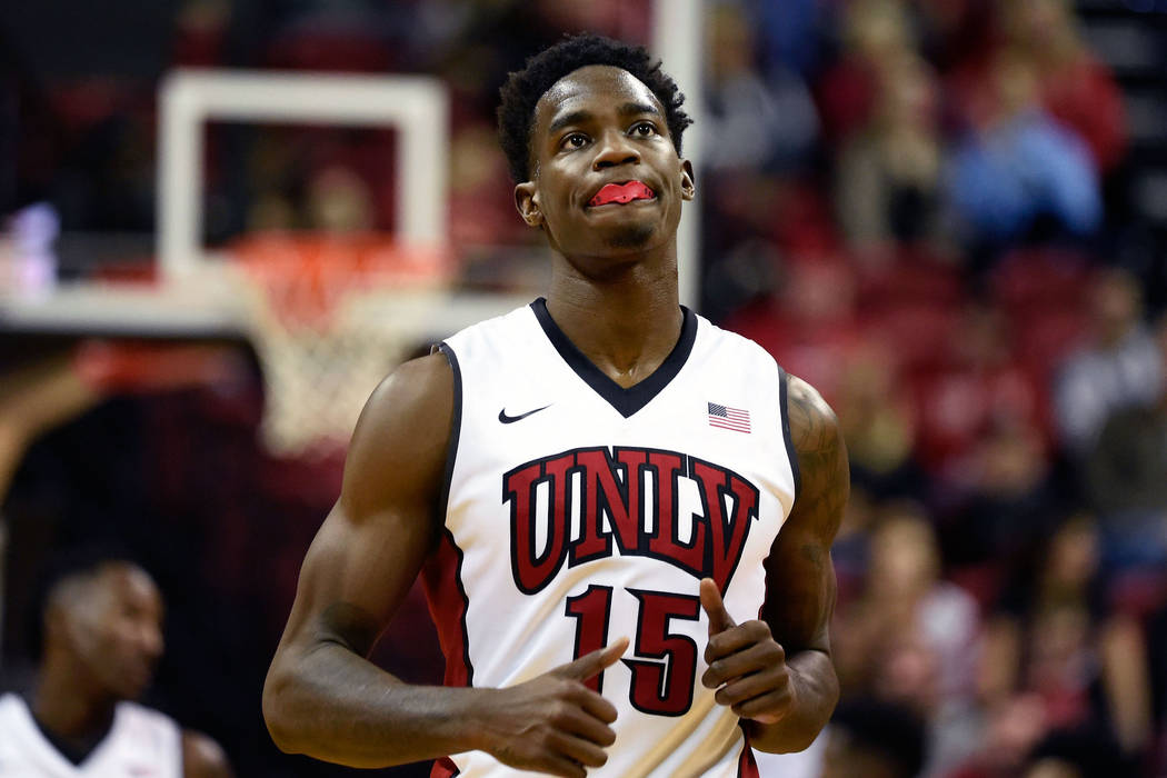 UNLV's Dwayne Morgan runs up court against Fullerton during the second half of an NCAA basketball game at the Thomas & Mack Center Saturday, Nov. 19, 2016, in Las Vegas. UNLV won 77-68. David  ...