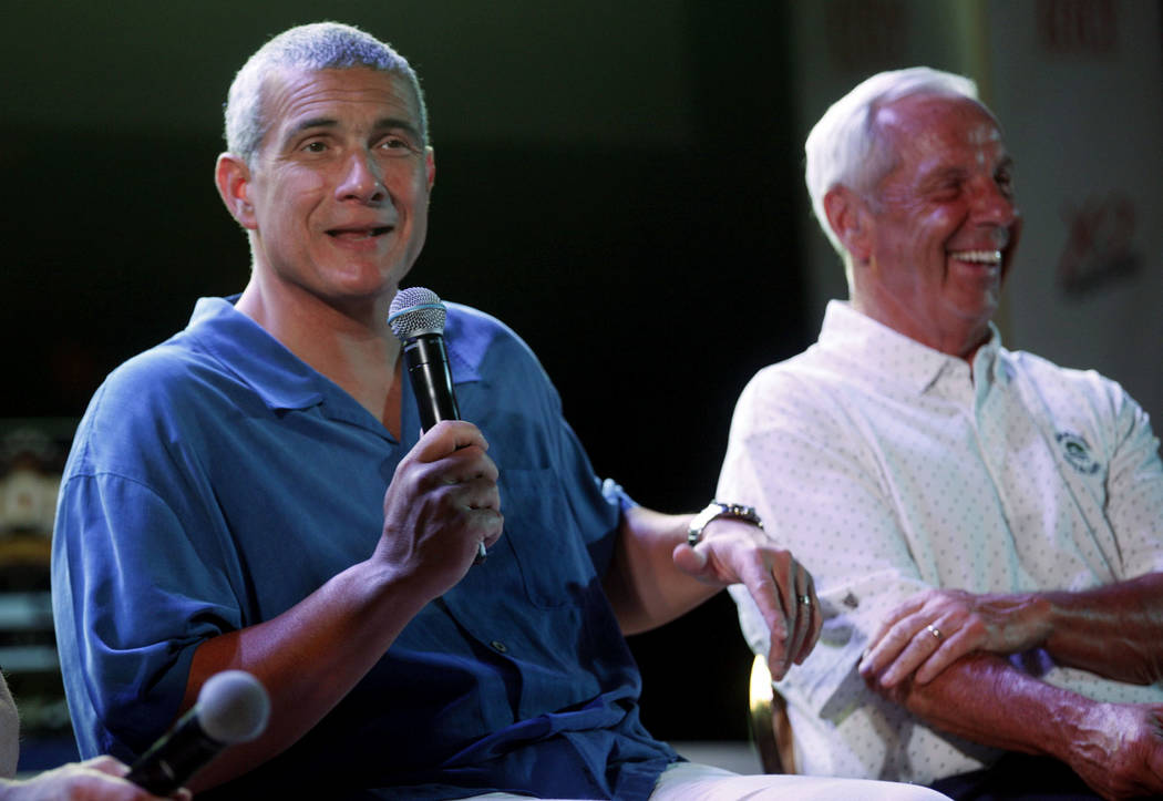 Frank Martin and Roy Williams speak at the Coach vs. Cancer fundraiser event on Sunday, May 21, 2017, at the MGM Grand hotel-casino in Las Vegas. Rachel Aston Las Vegas Review-Journal @rookie__rae