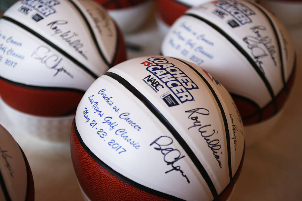 Signed basketballs at the Coach vs. Cancer fundraiser event on Sunday, May 21, 2017, at the MGM Grand hotel-casino in Las Vegas. Rachel Aston Las Vegas Review-Journal @rookie__rae