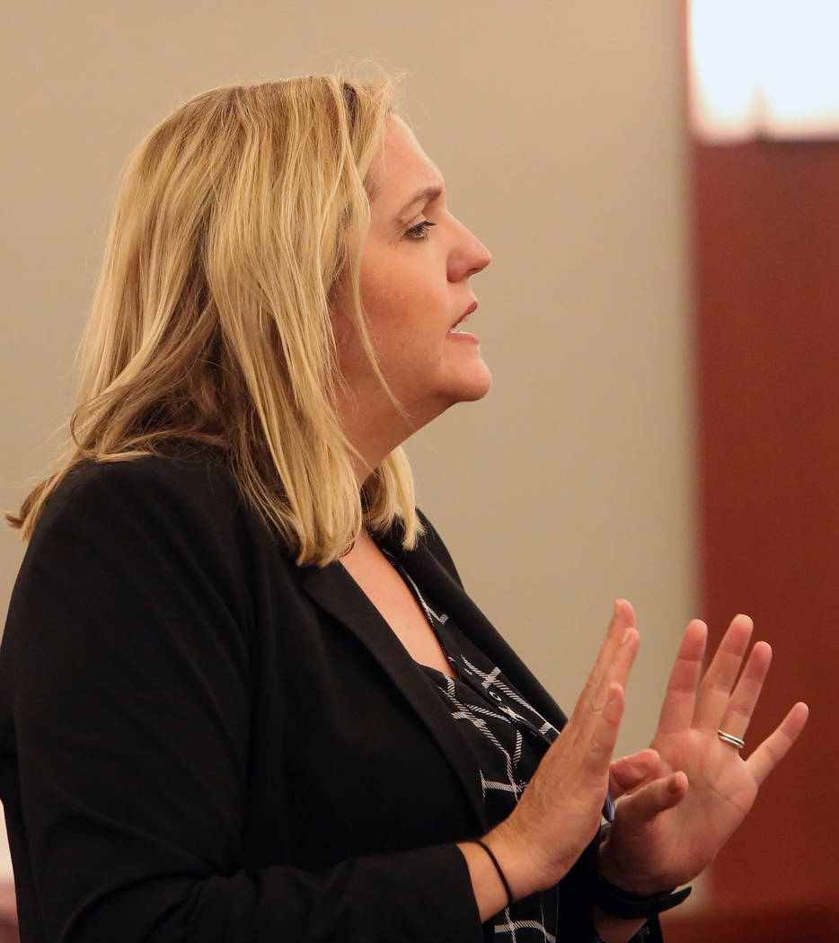 Defense attorney Betsy Allen delivers her opening statement to the jury in the trial of Dr. Binh Minh Chung, who is accused of videotaping himself having sex with patients, at the Regional Justice ...