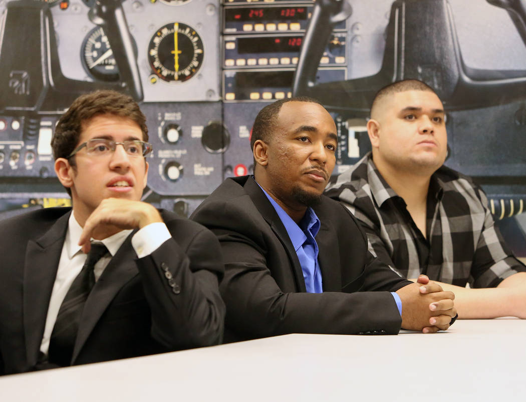 College of Southern Nevada students Daniel Lamattina, left, Marcus Hogan, and Brandon Lindsey participate in a roundtable discussion with U.S. Rep. Jacky Rosen, D-Nev., on STEM and investing in cy ...