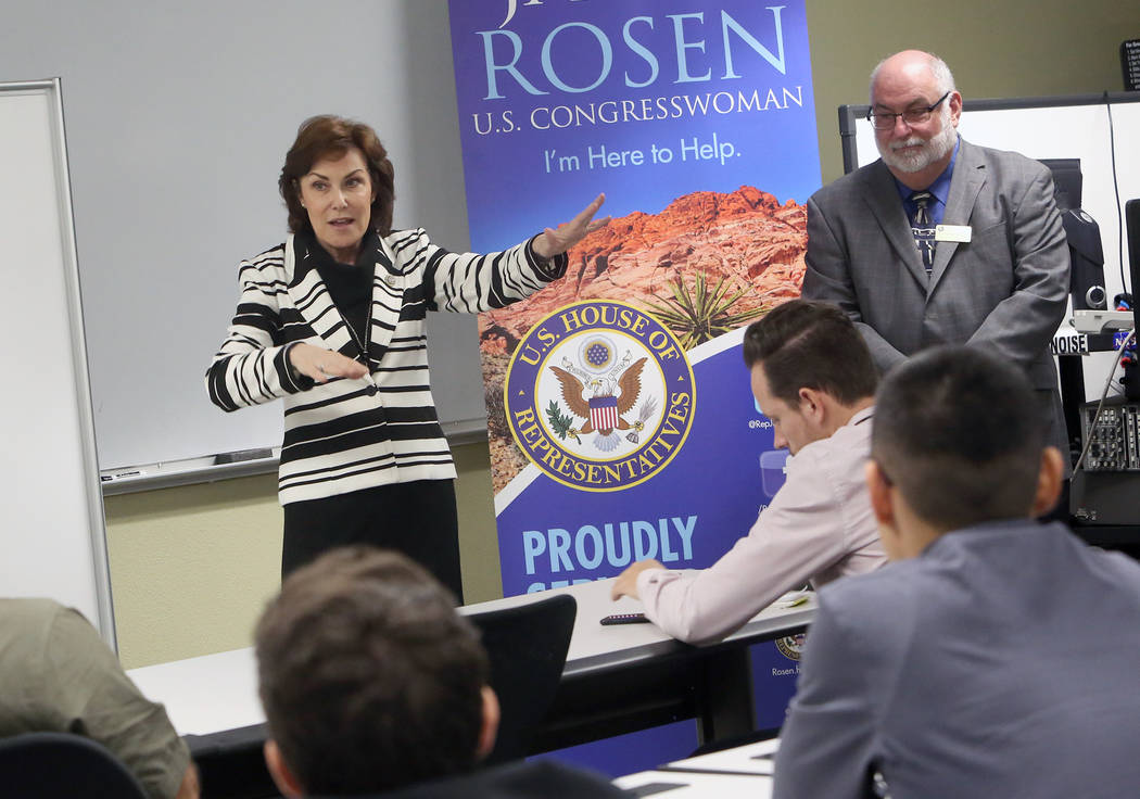 U.S. Rep. Jacky Rosen, D-Nev., hosts a roundtable discussion with College of Southern Nevada students on STEM and investing in cybersecurity as Dr, Michael Spangler, dean of the school of advanced ...