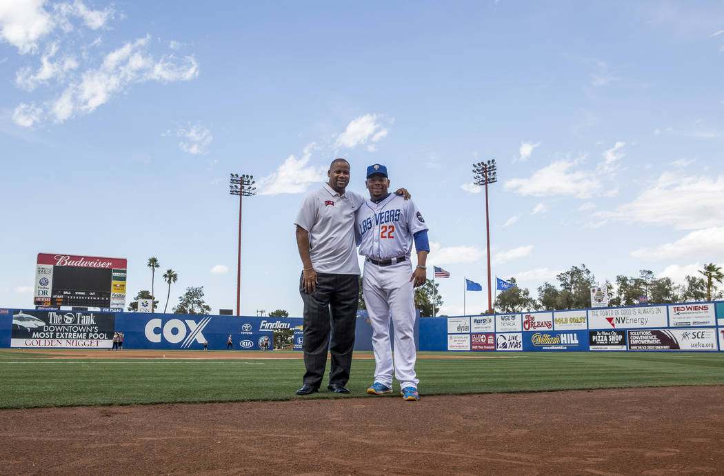 51s first baseman Dominic Smith with his uncle Andre LaFleur at Cashman Field on Wednesday, May 17, 2017. Patrick Connolly Las Vegas Review-Journal @PConnPie