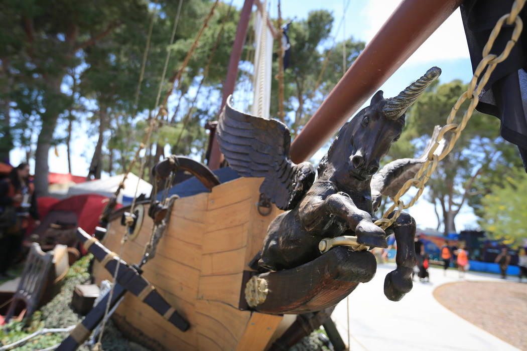 A pirate ship is on display during Pirate Fest 2017 at Craig Ranch Regional Park on Friday, April 21, 2017. (Brett Le Blanc/View) @bleblancphoto