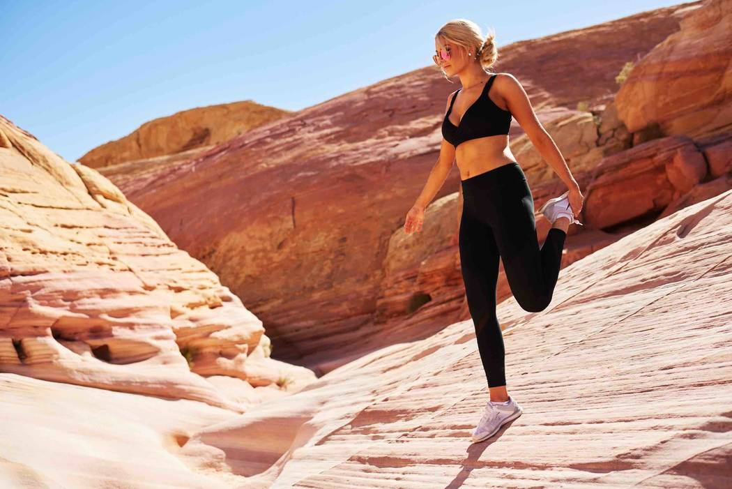 Miss Washington Alex Carlson-Helo stretches at Valley of Fire State Park on Friday, May 5, 2017, in Nevada. (Miss Universe Organization)