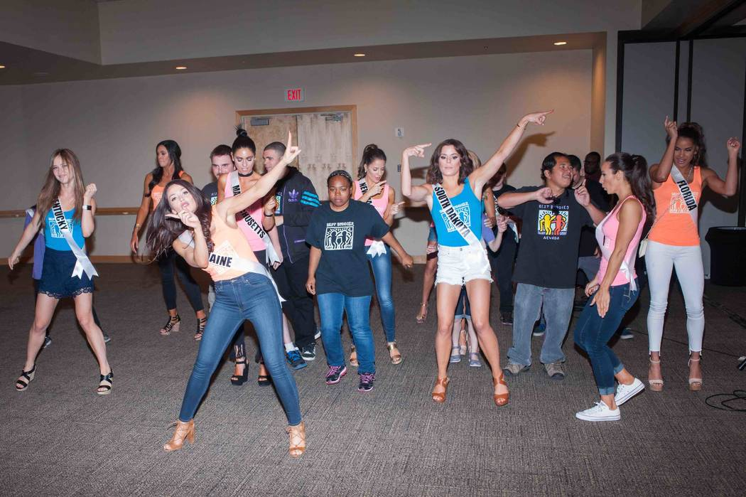 2017 Miss USA Pageant contestants dance with new friends while working with Best Buddies International at Mandalay Bay on Sunday, May 7, 2017, in Las Vegas. (Miss Universe Organization)