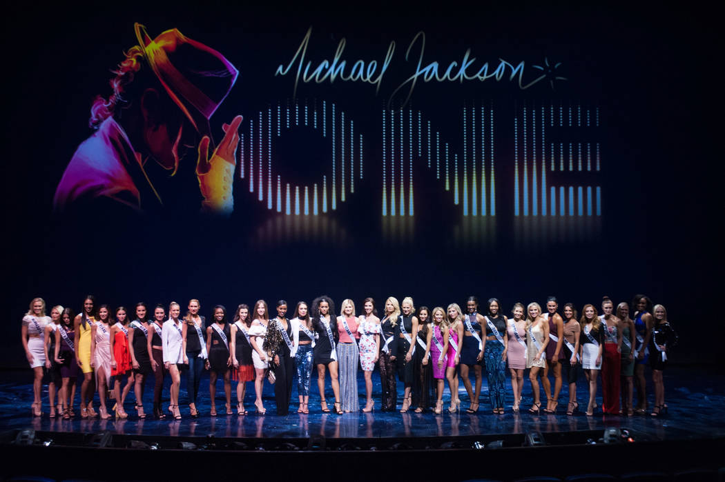 Miss USA contestants take a photo onstage of Michael Jackson ONE at Mandalay Bay Resort and Casino after the show on May 7, 2017. The Miss USA contestants are touring, filming, rehearsing and prep ...