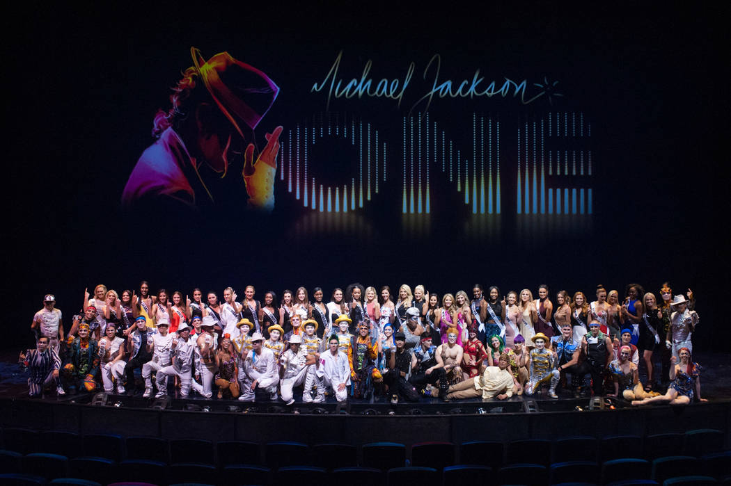 Miss USA contestants take a photo onstage with performers of Michael Jackson ONE at Mandalay Bay Resort and Casino after the show on May 7, 2017. The Miss USA contestants are touring, filming, reh ...