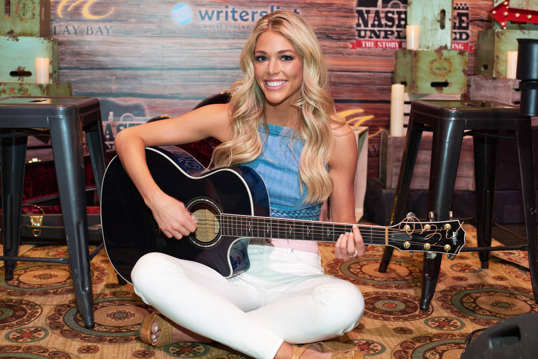Kelsey Weier, Miss Iowa USA 2017, gets to play guitar before Nashville Unplugged at Mandalay Bay Resort and Casino on May 6, 2017. The Miss USA contestants are touring, filming, rehearsing and pre ...