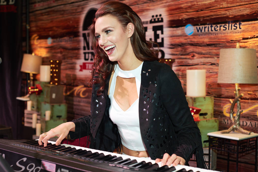 Jacqueline Carroll, Miss Virginia USA 2017, plays piano before Nashville Unplugged at Mandalay Bay Resort and Casino on May 6, 2017. The Miss USA contestants are touring, filming, rehearsing and p ...