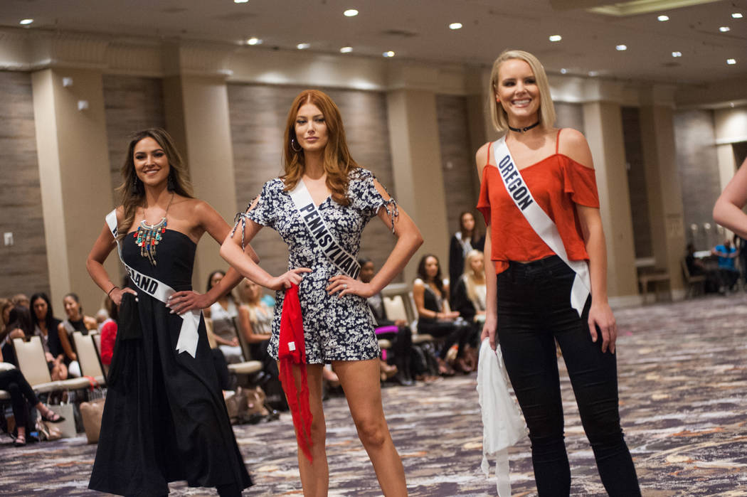 Kelsey Swanson, Miss Rhode Island USA 2017; Cassandra Angst, Miss Pennsylvania USA 2017; and Liz Denny, Miss Oregon USA 2017; during rehearsal at the Luxor Hotel and Casino on May 8, 2017. The Mis ...