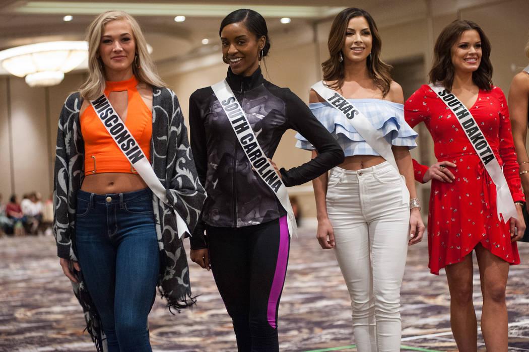 Skylar Witte, Miss Wisconsin USA 2017; Megan Gordon, Miss South Carolina USA 2017; Nancy Gonzalez, Miss Texas USA 2017; and Tessa Dee, Miss South Dakota USA 2017; during rehearsal at the Luxor Hot ...