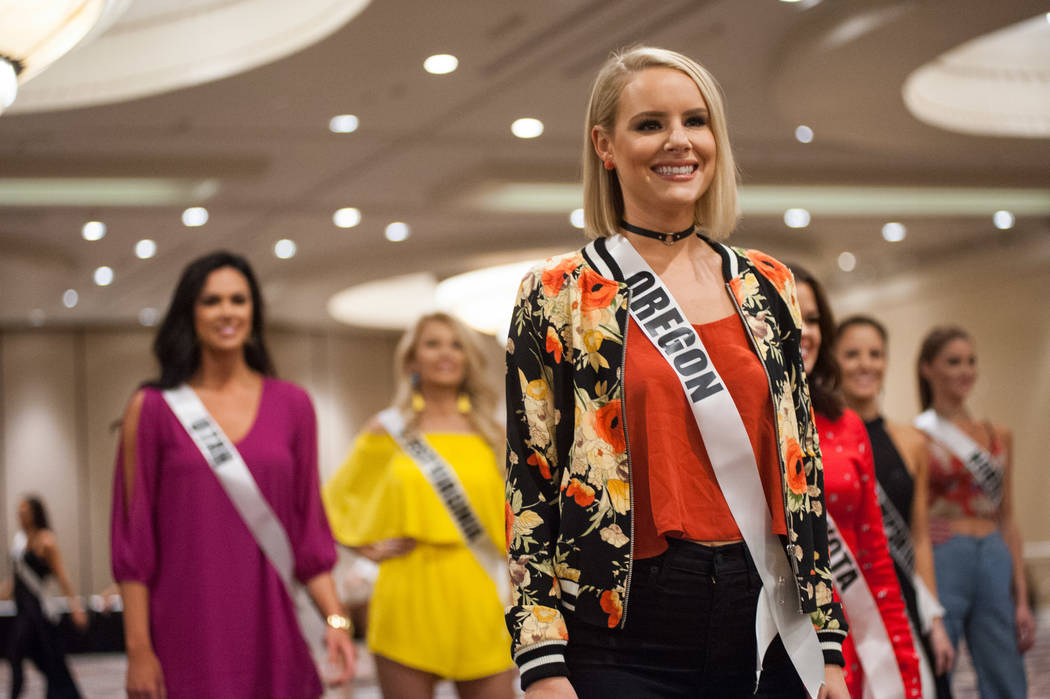 Liz Denny, Miss Oregon USA 2017, during rehearsal at the Luxor Hotel and Casino on May 8, 2017. The Miss USA contestants are touring, filming, rehearsing and preparing to compete for the Miss USA  ...