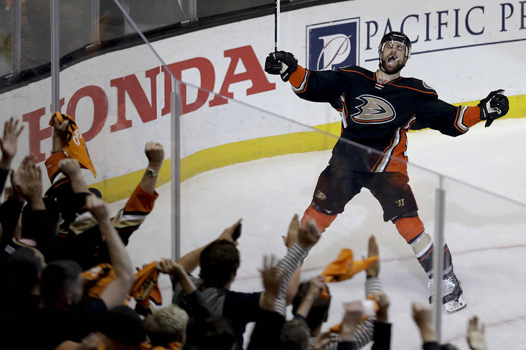 Anaheim Ducks center Andrew Cogliano celebrates after scoring during the second period in Game 7 of a second-round NHL hockey Stanley Cup playoff series against the Edmonton Oilers in Anaheim, Cal ...