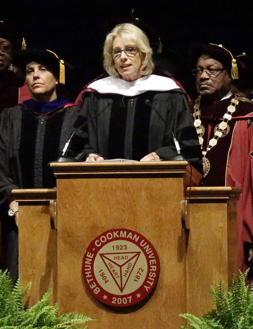 CORRECTS SPELLING OF FIRST NAME TO BETSY, NOT BESTY - United States Secretary of Education Betsy DeVos delivers a commencement speech to graduates at Bethune-Cookman University, Wednesday, May 10, ...