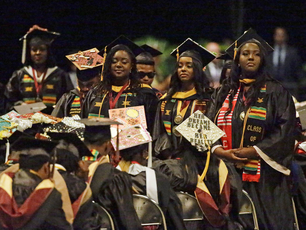A group of students stand and turn their backs during a commencement exercise speech by Education Secretary Betsy DeVos at Bethune-Cookman University, Wednesday, May 10, 2017, in Daytona Beach, Fl ...
