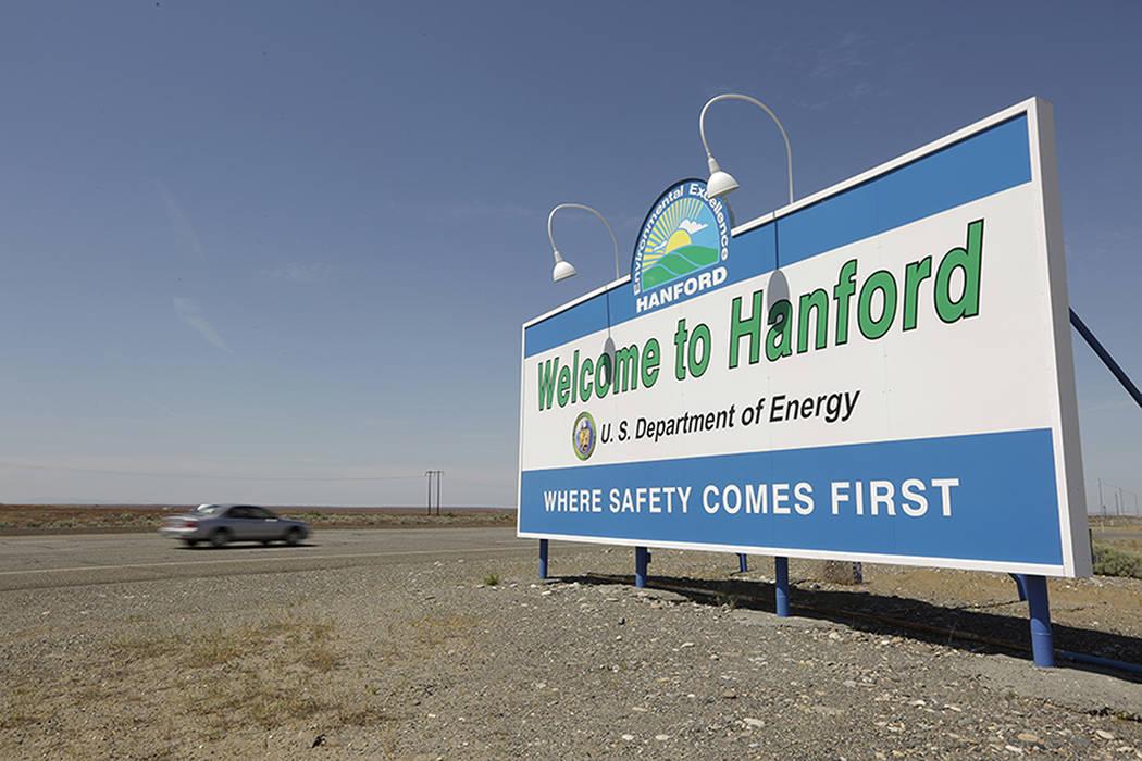 A sign welcomes visitors to Hanford, Washington.  The Washington Post