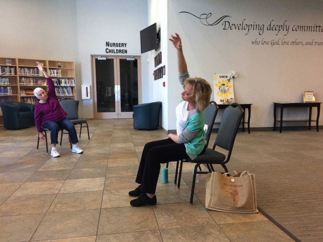 Pamela Lappen, certified instructor, leads a Dancing With Parkinson's class April 6, 2017, at Desert Spring United Methodist Church in Summerlin. The classes are free and help those with the dis ...