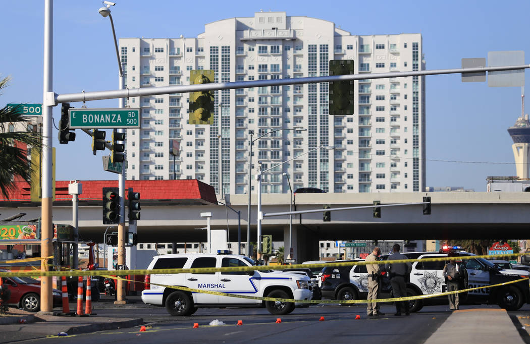 Police investigate an accident involving a pedestrian at the intersection of Las Vegas Boulevard and Bonanza Road in Las Vegas on Thursday, May 11, 2017. Brett Le Blanc Las Vegas Review-Journal @b ...