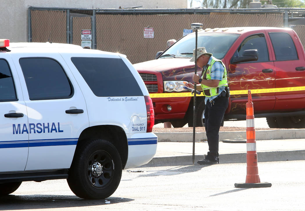 Police investigate an accident involving a pedestrian at the intersection of Las Vegas Boulevard and Bonanza Road in Las Vegas on Thursday, May 11, 2017. (Bizuayehu Tesfaye Las Vegas Review-Journa ...