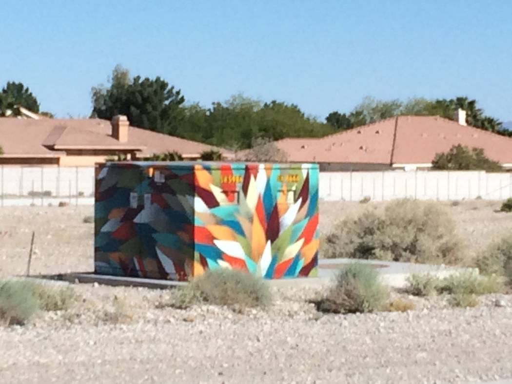 The utility box at El Capitan Way and Lone Mountain Road is seen April 30, 2017, another one painted by Spencer Olsen. The outdoor art was provide through a grant and will see dozens of boxes pain ...