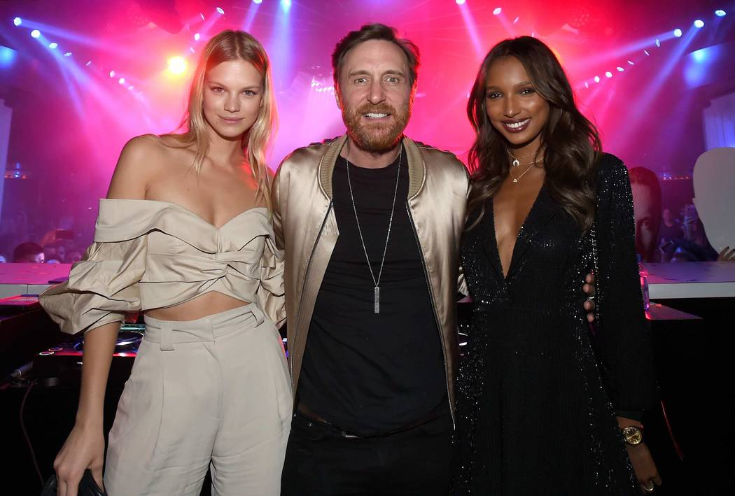Nadine Leopold, DJ David Guetta and Jasmine Tookes celebrate at Intrigue Nightclub's First Anniversary Party hosted by Perrier-Jouet at Wynn Las Vegas early Friday, April 28, 2017, in Las Vegas. ( ...