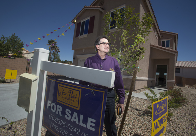 StoryBook Homes principal Wayne Laska by a model home at the company's new subdivision on Spring Mountain Road near Hualapai Way, Monday, April 7,2014. The homes range from 1,465 to 2,558 square f ...