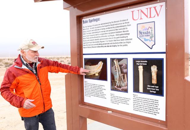 UNLV Geology Professor Stephen Rowland talks at Tule Springs State Park on Friday, Jan. 20, 2017, where 20,000 year old animal fossils were found in 2011, in Las Vegas. (Bizuayehu Tesfaye/Las Vega ...