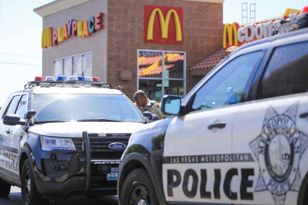 Las Vegas police respond to a report of pepper spray being released in a McDonald's at 4411 W. Sahara Ave., at Arville Street, in Las Vegas on Thursday, May 11, 2017. (Brett Le Blanc Las Vegas Rev ...