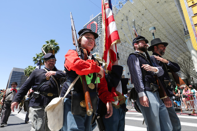 Actors with the Southern Nevada Living History Association march in the 2016 Helldorado parade in downtown Las Vegas on Saturday, May 14, 2016. (Brett Le Blanc/Las Vegas)  Follow @bleblancphoto