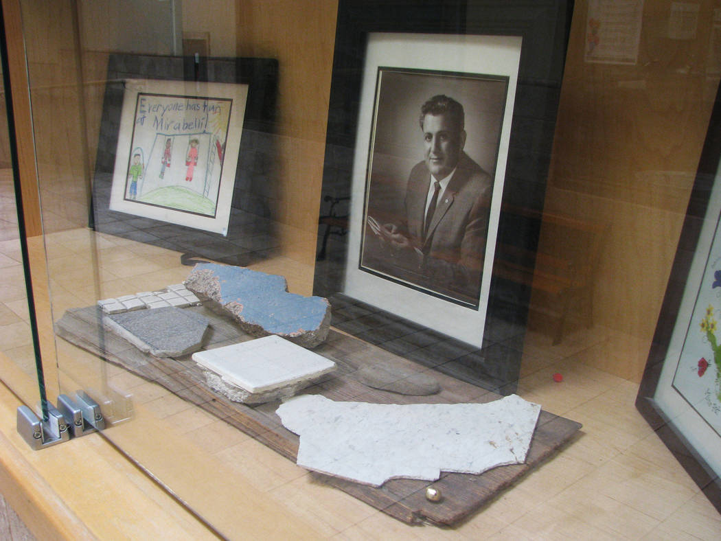 A display case at Mirabelli Community Center, 6200 Hargrove Ave.  iincludes some of the materials from the original building that was razed in 2006. (F. Andrew Taylor/View) @FAndrewTPress