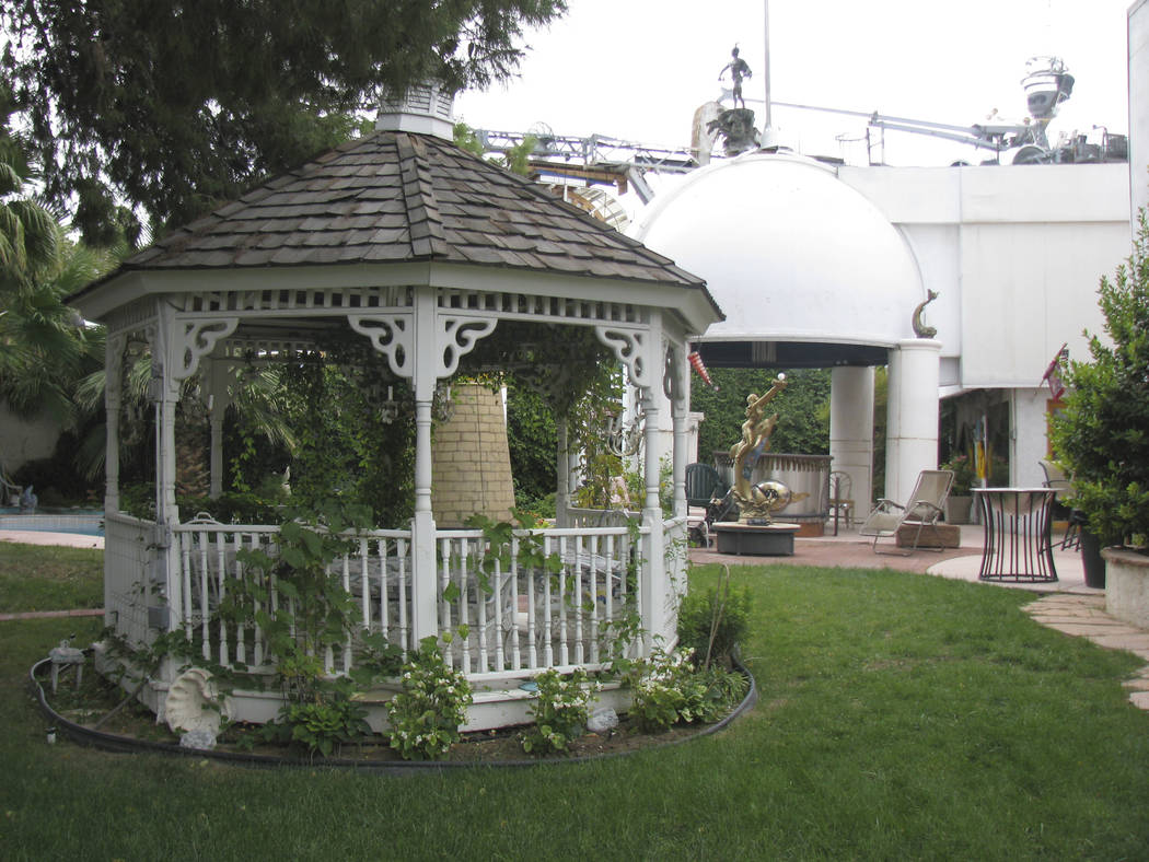 An ornate gazebo is one of the more normal items in Lonnie Hammargren's backyard. 2009 photo. (F. Andrew Taylor/Review-Journal)