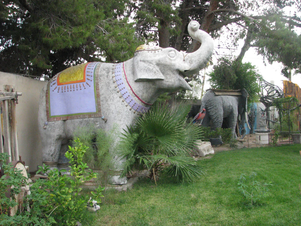Two of the full sized elephants that grace the yard of the northernmost home of Lonnie Hammargren's complex of homes. 2010 photo. (F. Andrew Taylor/Review-Journal)