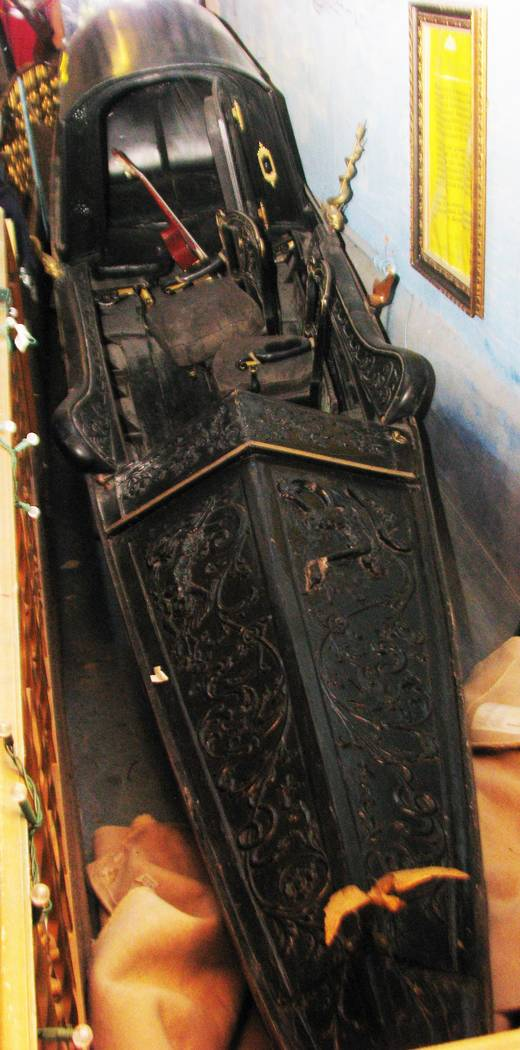Among the unusual items in Lonnie Hammargren's complex of homes at 4318 Ridgecrest Drive is a Gondola that he believes may be the oldest in the world. 2012 photo.  (F. Andrew Taylor/Review-Journal)