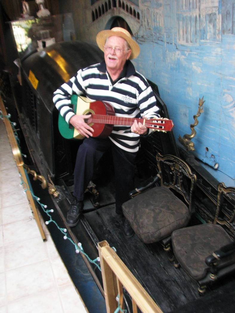 F. ANDREW TAYLOR/VIEW Among the unusual items in Lonnie Hammargren's complex of homes at 4318 Ridgecrest Drive is a Gondola that he believes may be the oldest in the world. Hammargren Sings &q ...