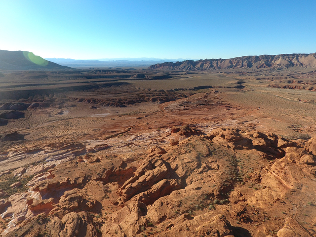 An aerial view of Gold Butte National Monument, as seen from a plateau of red sandstone known as  Little Finland, on Tuesday, January 17, 2017. (Michael Quine/Las Vegas Review-Journal) @Vegas88s