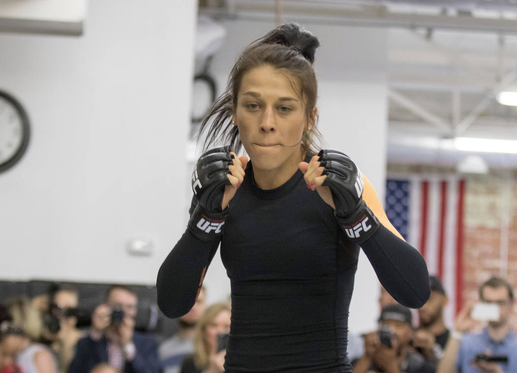UFC women's strawweight champion Joanna Jedrzejczyk warms up at UFC 211 open workouts at the Mohler MMA gym in Dallas, Texas, on Thursday, May 11, 2017. Heidi Fang/Las Vegas Review-Journal @HeidiFang