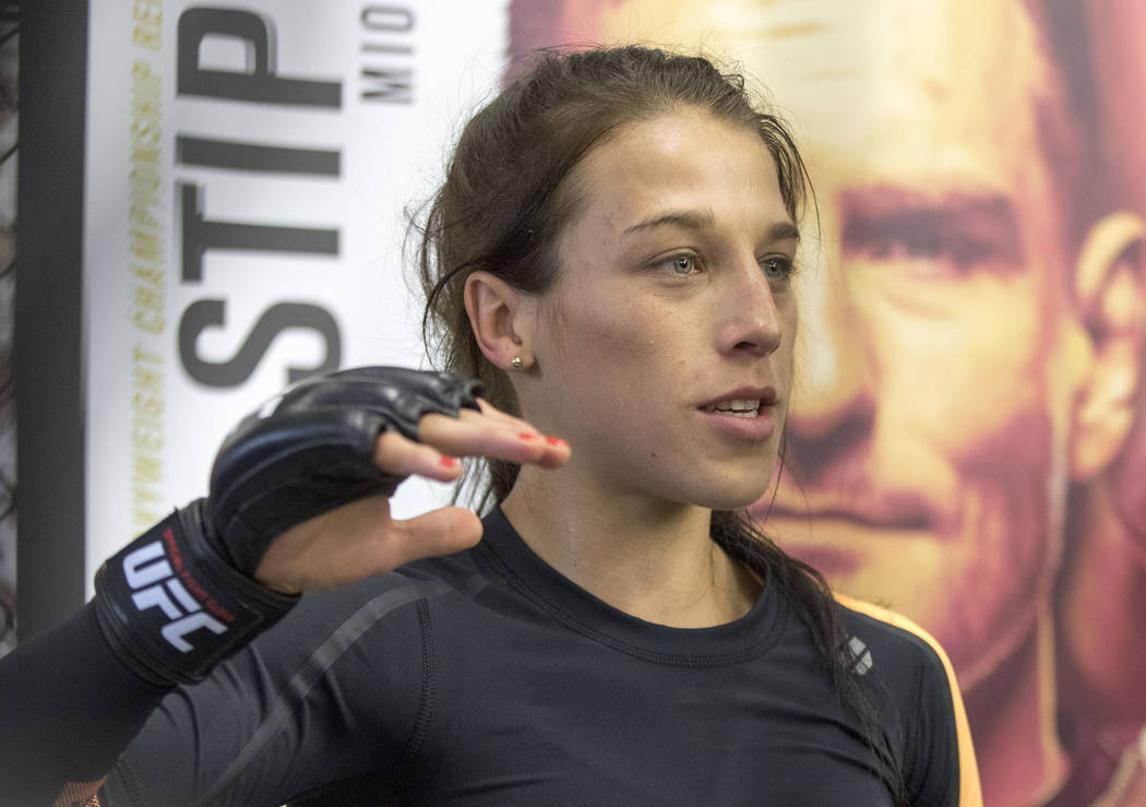 UFC women's strawweight champion Joanna Jedrzejczyk answers media questions during the UFC 211 open workouts at the Mohler MMA gym in Dallas, Texas, on Thursday, May 11, 2017. Heidi Fang/Las Vegas ...