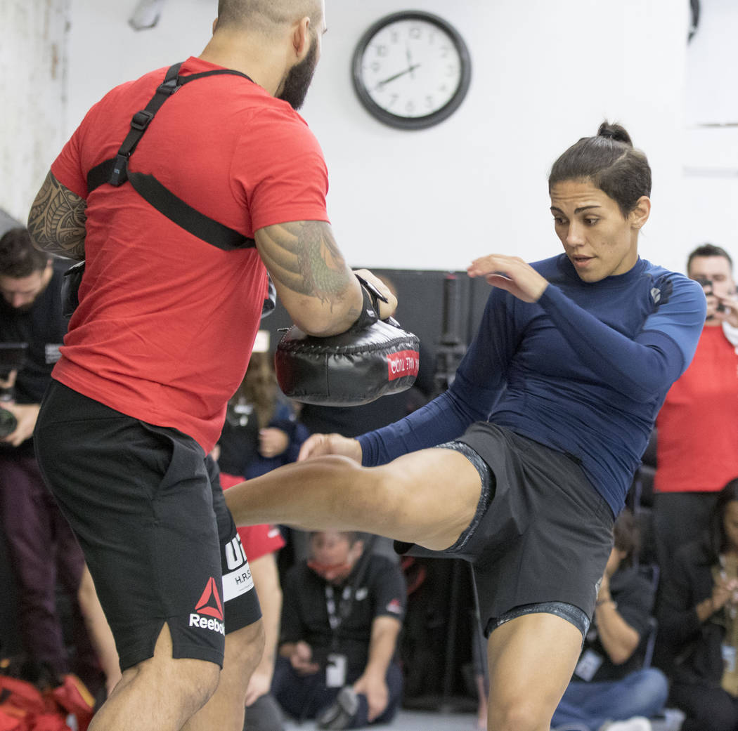 Jessica Andrade throws a kick during UFC 211 open workouts at the Mohler MMA gym in Dallas, Texas, on Thursday, May 11, 2017. Heidi Fang/Las Vegas Review-Journal @HeidiFang