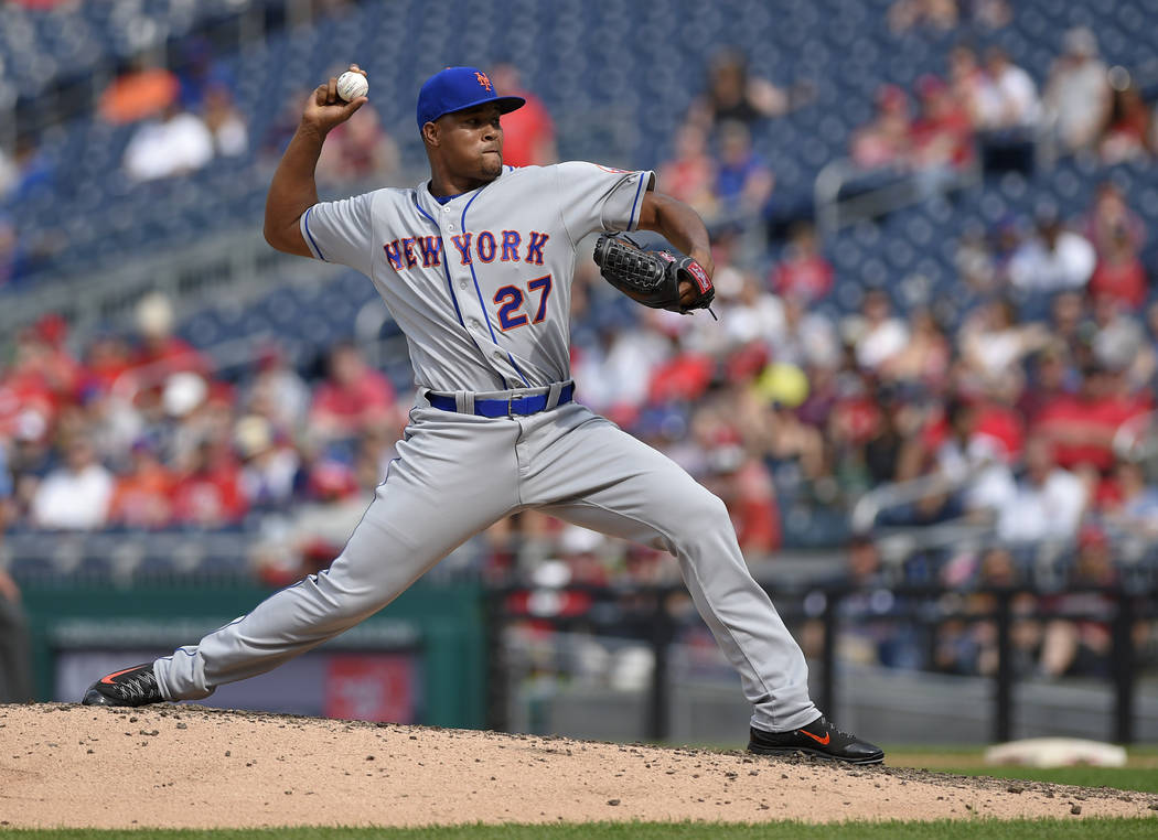 New York Mets relief pitcher Jeurys Familia (27) delivers a pitch during the ninth inning of a baseball game against the Washington Nationals, Saturday, April 29, 2017, in Washington. The Mets won ...