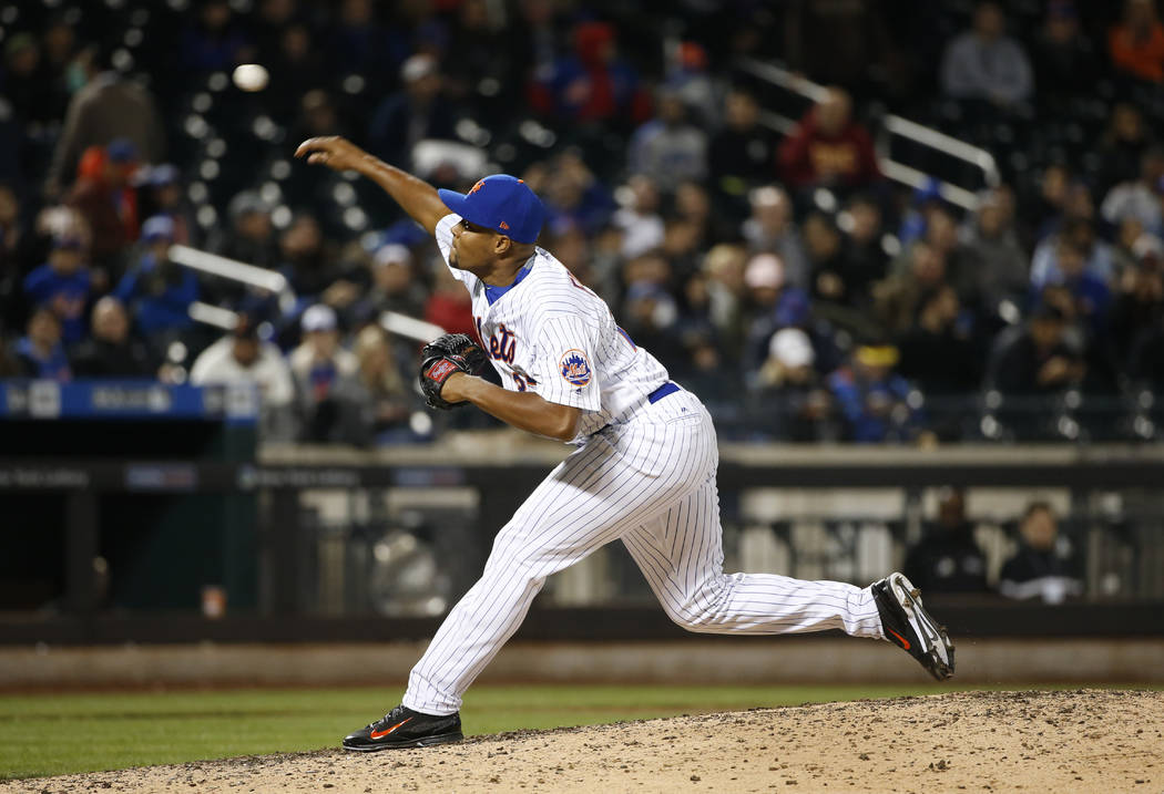 New York Mets relief pitcher Jeurys Familia delivers during the ninth inning of the team's baseball game against the Sam Francisco Giants, Tuesday, May 9, 2017, in New York. The Mets defeated the  ...